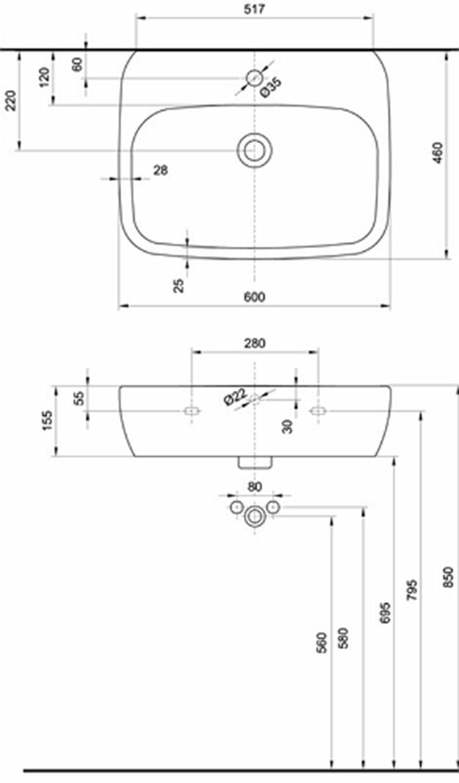 Umywalka 60 cm Koło Style rysunek techniczny