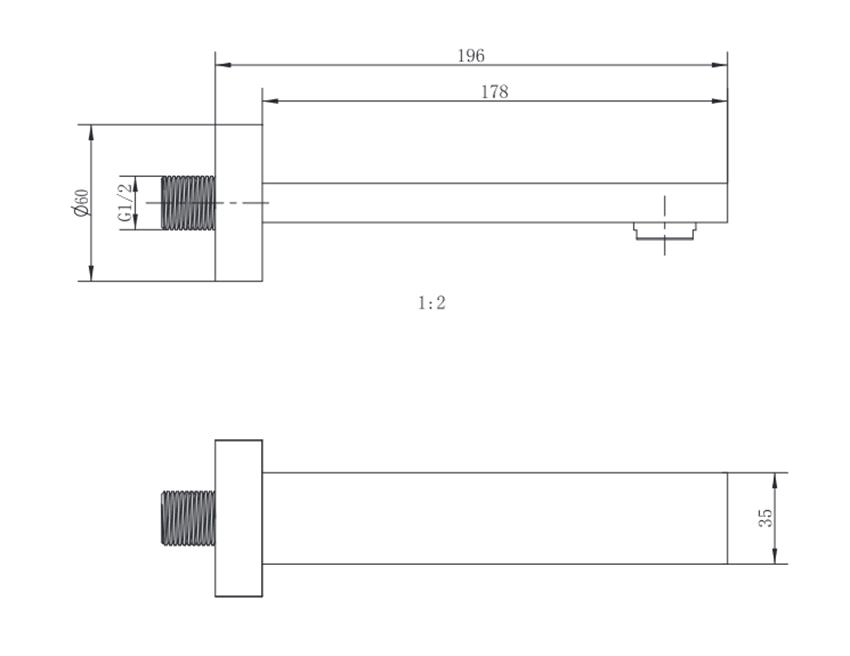 Wylewka wannowa podtynkowa kwadratowa FDesign Inula rysunek