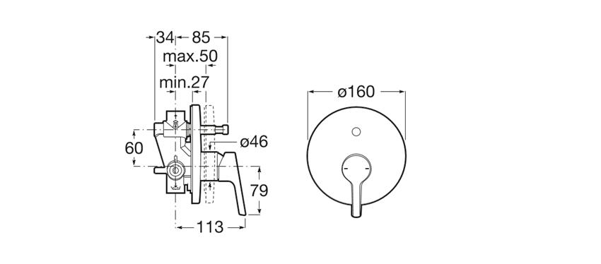 Bateria wannowo-natryskowa podtynkowa Roca Malva rysunek techniczny