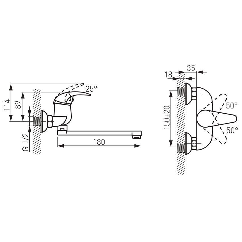 Bateria umywalkowa ścienna Ferro Ancona rysunek techniczny