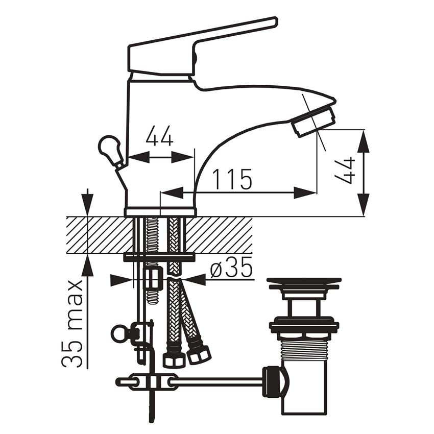 Bateria umywalkowa stojąca Ferro Smile rysunek techniczny