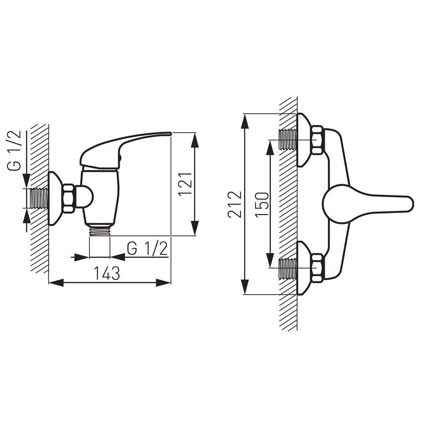Bateria natryskowa ścienna Ferro Titania Iris rysunek techniczny