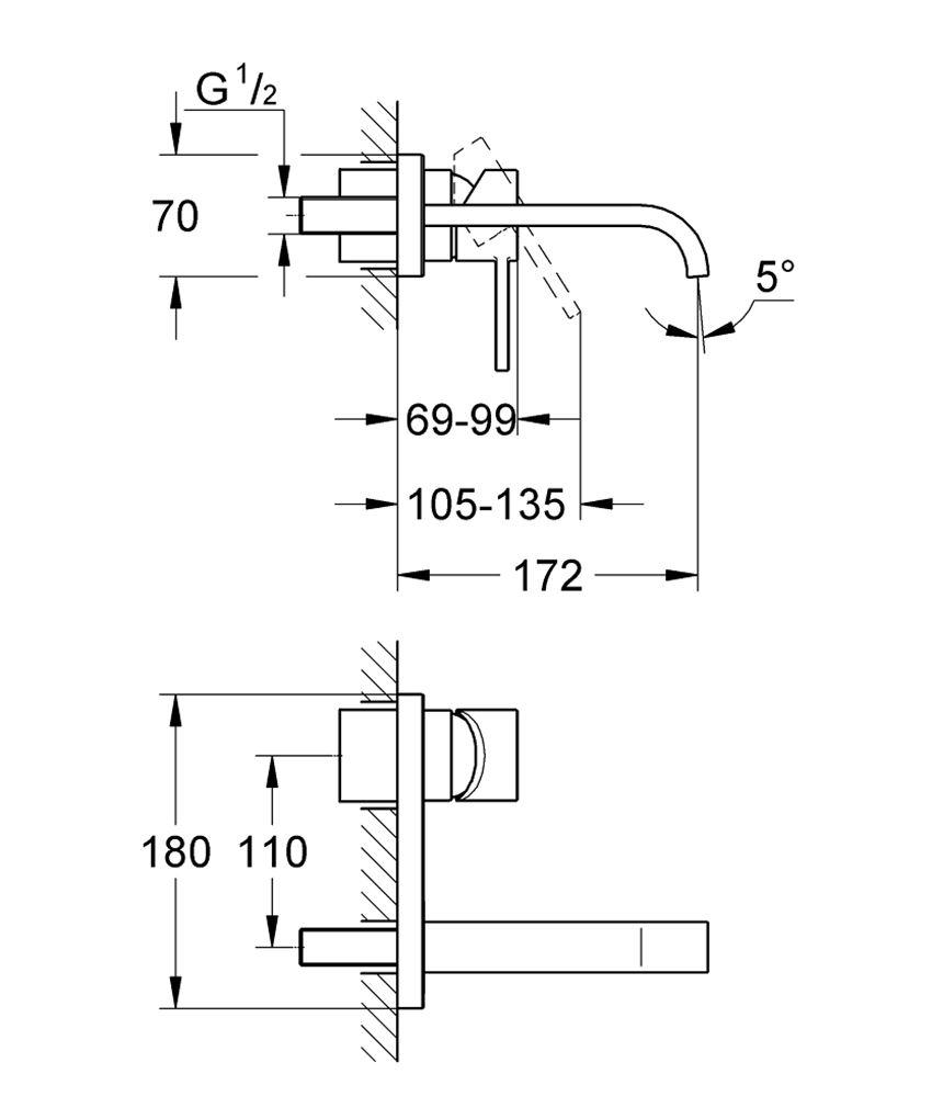Dwuotworowa bateria umywalkowa bez elementów do zabudowy podtynkowej Grohe Allure rysunek techniczny