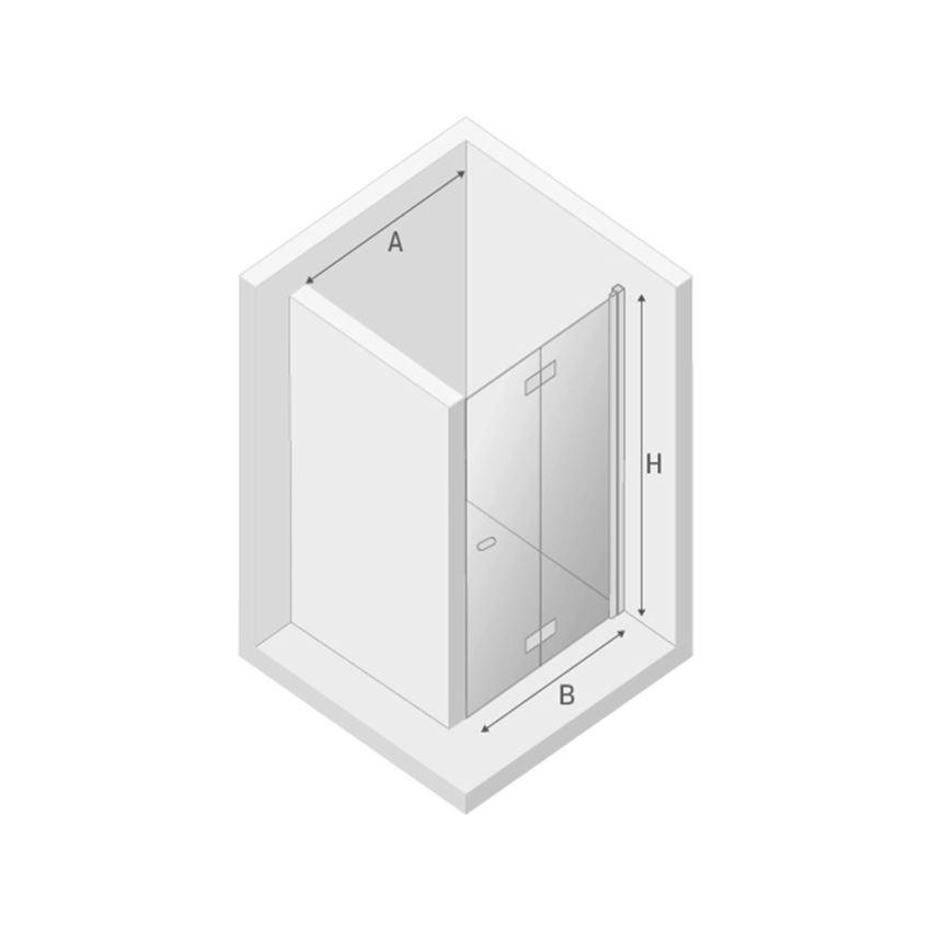 Drzwi prysznicowe prawe New Trendy New Soleo Black rysunek techniczny