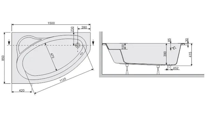 Wanna asymetryczna lewa 80x150 cm Sanplast Eko Plus rysunek