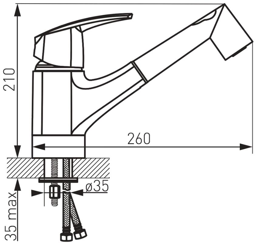 Jednouchwytowa bateria kuchenna z wyciąganą wylewką FDesign Avanza rysunek