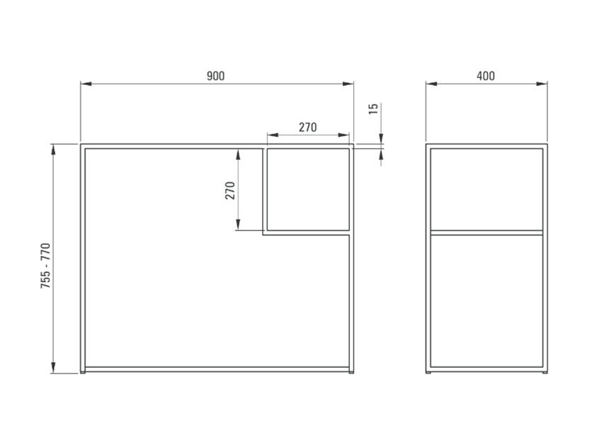 Konsola łazienkowa stojąca 90x40 cm Deante Correo rysunek