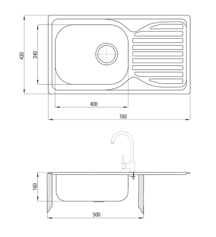 Zestaw stalowy 1-komorowy z ociekaczem + bateria stojąca Deante Doppio rysunek