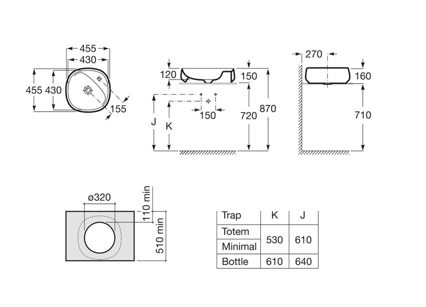 Umywalka nablatowa 45,5x45,5x16 cm Roca Beyond rysunek techniczny
