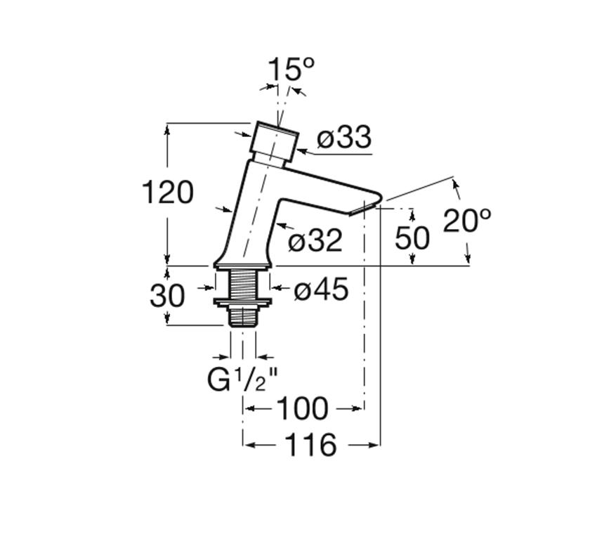 Bateria umywalkowa czasowa Roca Instant rysunek techniczny