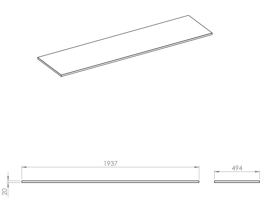 Blat naszafkowy pełny 190 cm Elita ElitStone rysunek