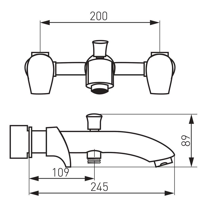 Bateria wannowa ścienna 3-otworowa Ferro Metalia 57 rysunek techniczny