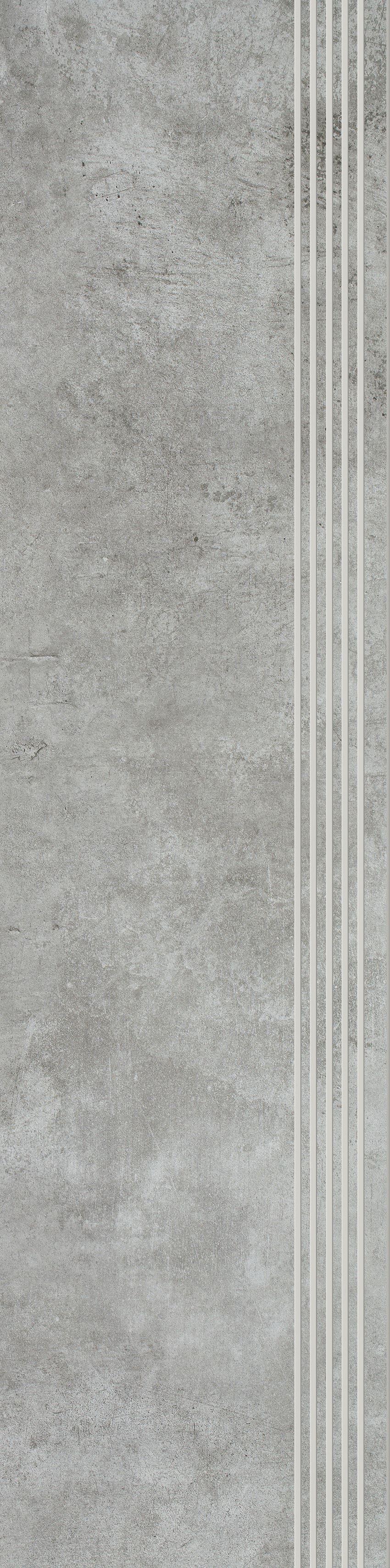 Płytka stopnicowa 29,8x119,8 cm Paradyż Scratch Grys Stopnica Prosta Nacinana Półpoler