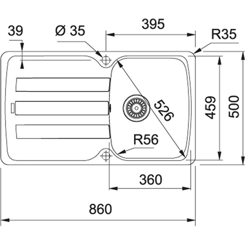 Zlewozmywak 1-komorowy z ociekaczem Franke Antea AZG 611-86 rysunek techniczny