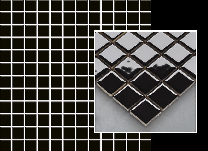 Mozaika 29,8x29,8 cm Paradyż Altea Nero Mozaika Prasowana K.2,3X2,3