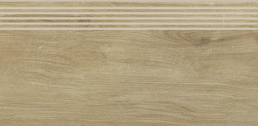 Płytka stopnicowa 29,4x59,9 cm Paradyż Roble Naturale Stopnica Prosta Nacinana Mat