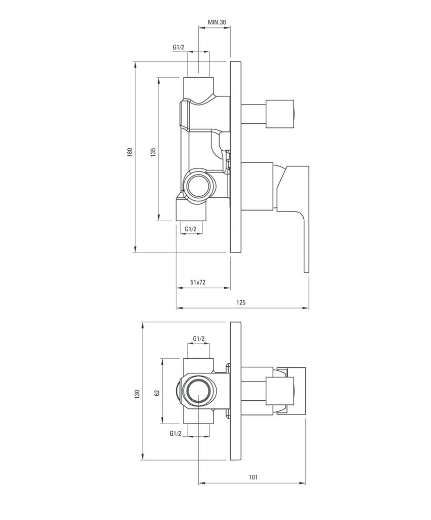 Bateria natryskowa podtynkowa z przełącznikiem natrysku Deante Azalia rysunek techniczny