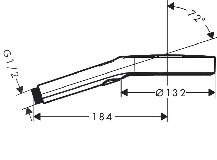 Główka prysznicowa Hansgrohe Rainfinity rysunek techniczny