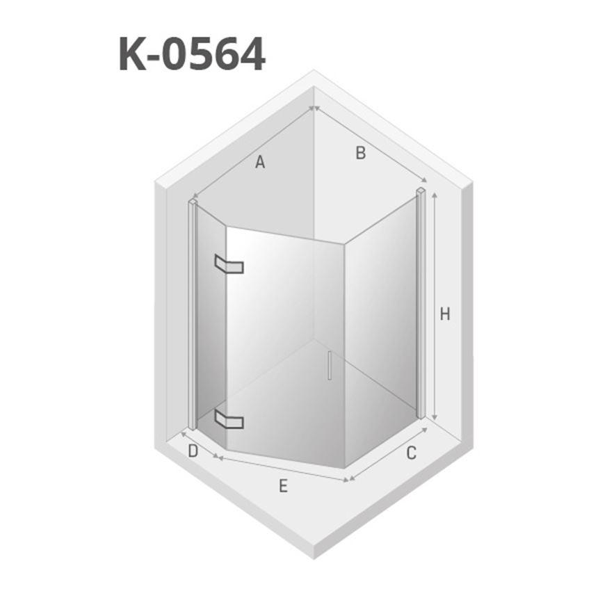 Kabina prysznicowa pięciokątna 100x80x195 cm New Trendy New Azura rysunek techniczny