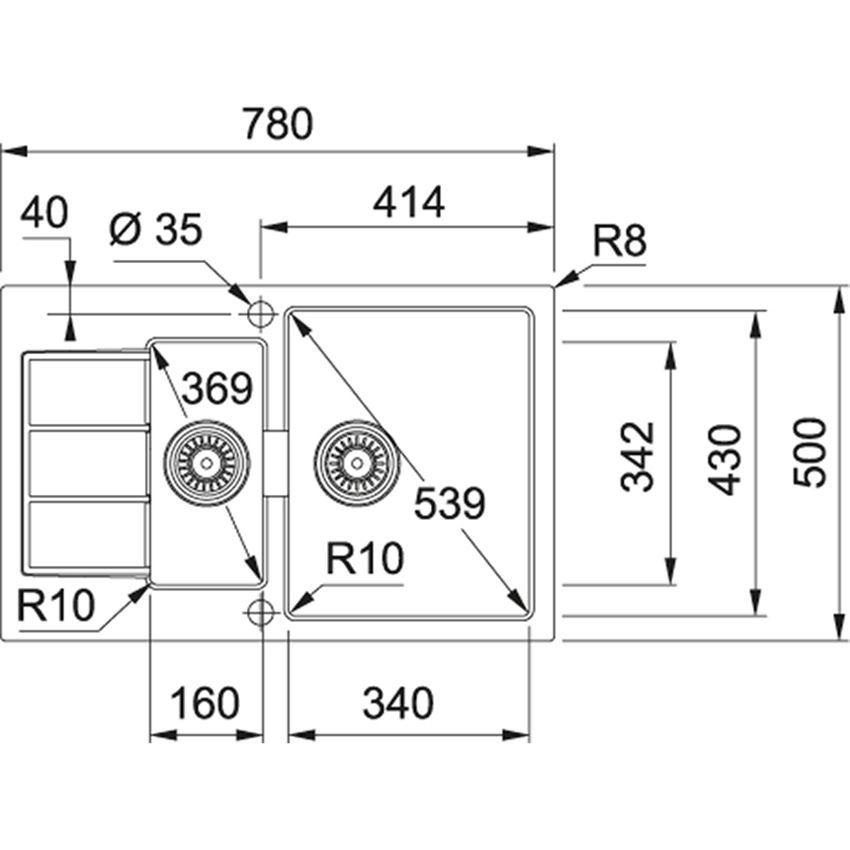 Zlewozmywak 1,5-komorowy Franke Sirius SID 651-78 rysunek techniczny