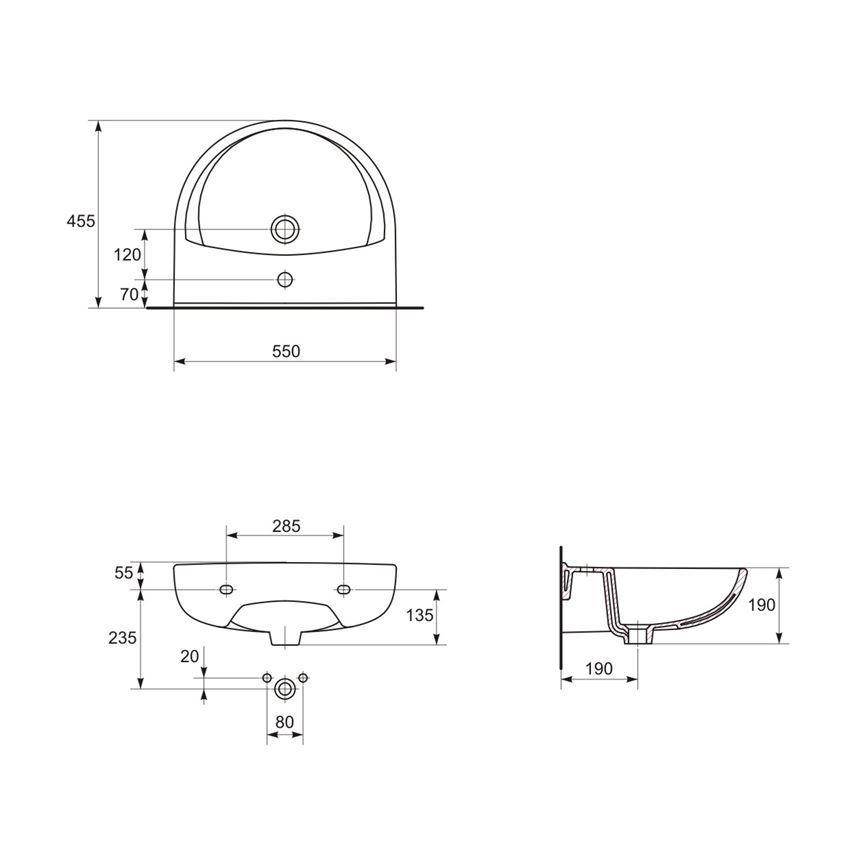 Umywalka wisząca 55 cm z otworem Cersanit President rysunek techniczny