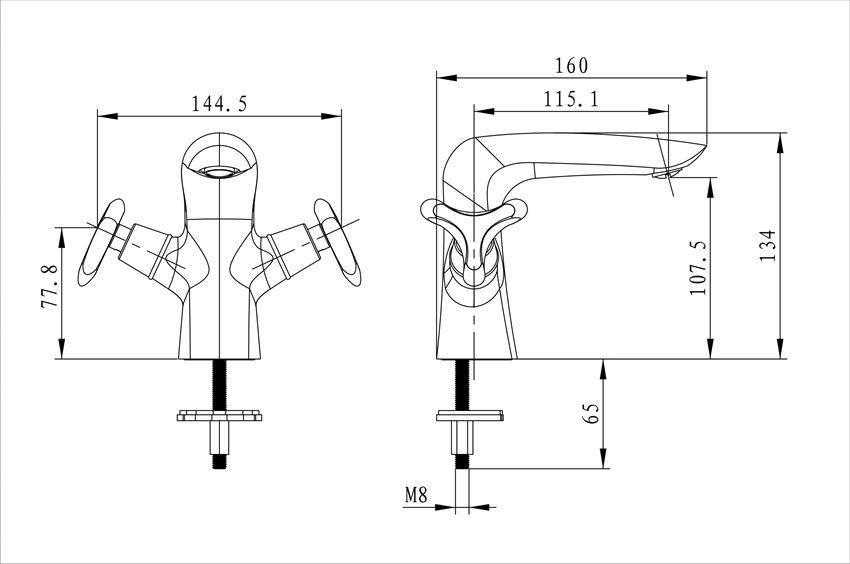 Bateria umywalkowa z korkiem click-clack Excellent Noble rysunek techniczny