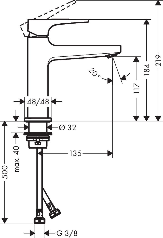 Jednouchwytowa bateria umywalkowa 110 CoolStart z kpl. odpływowym Push-Open Hansgrohe Metropol rysunek techniczny