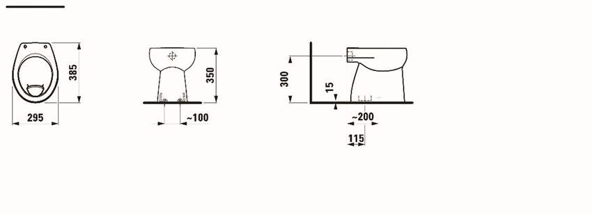 Miska WC stojąca 38,5x29,5x35 cm Laufen Florakids rysunek techniczny