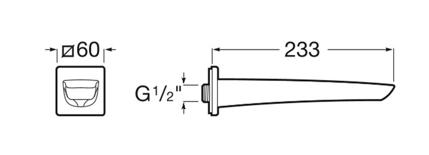 Rysunek techniczny wylewki wannowej Roca Insignia