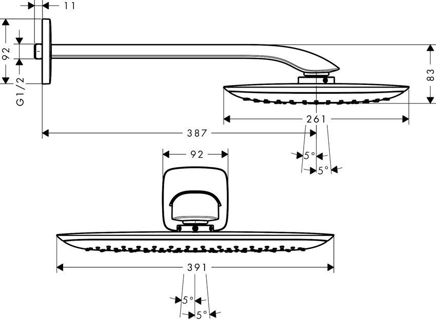 Głowica prysznicowa 400 1jet z ramieniem prysznicowym Hansgrohe PuraVida rysunek techniczny