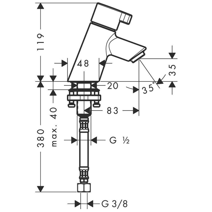 Bateria bez mieszacza 40 bez kpl. odpływowego Hansgrohe Talis S  rysunek techniczny