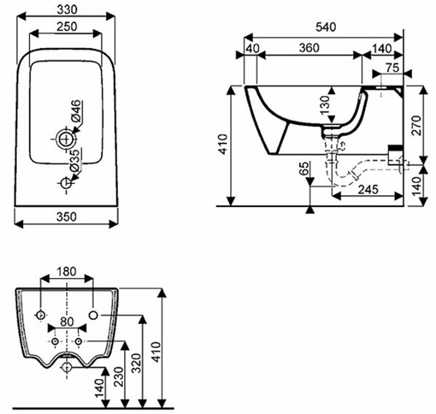 Zestaw stelaż+bidet Koło Technic GT STYLE rysunek