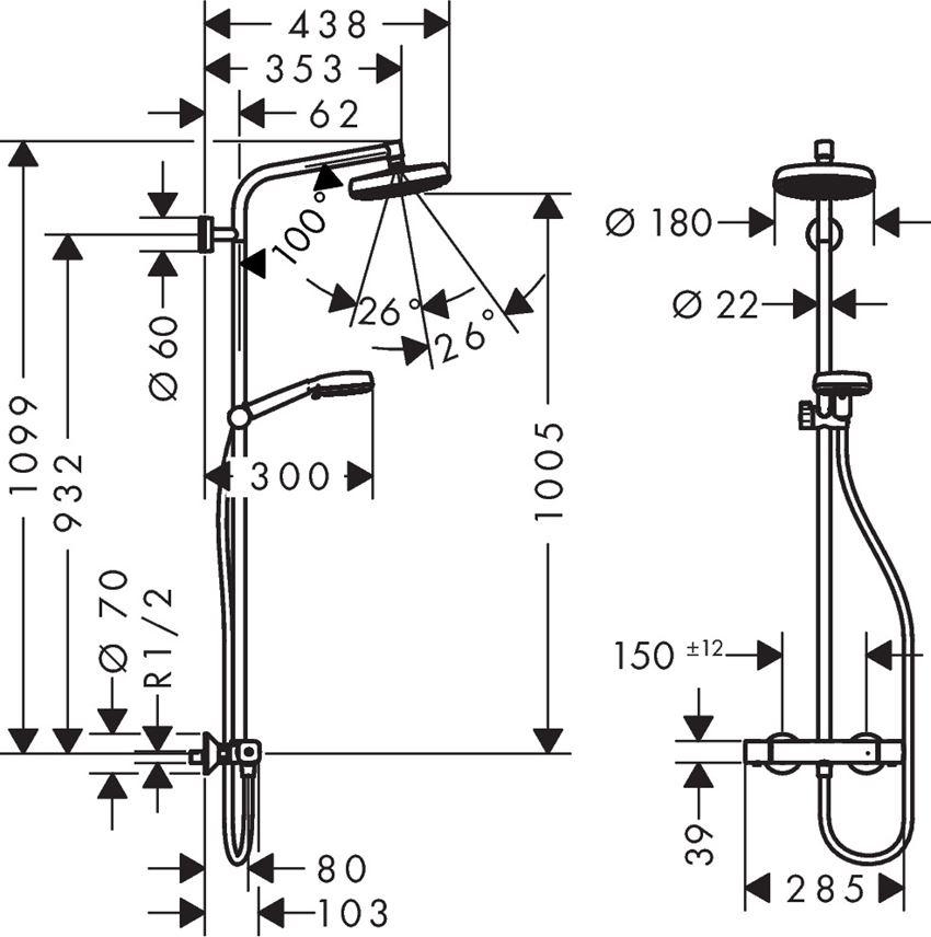 Komplet prysznicowy 160 1jet z termostatem Hansgrohe Crometta rysunek techniczny