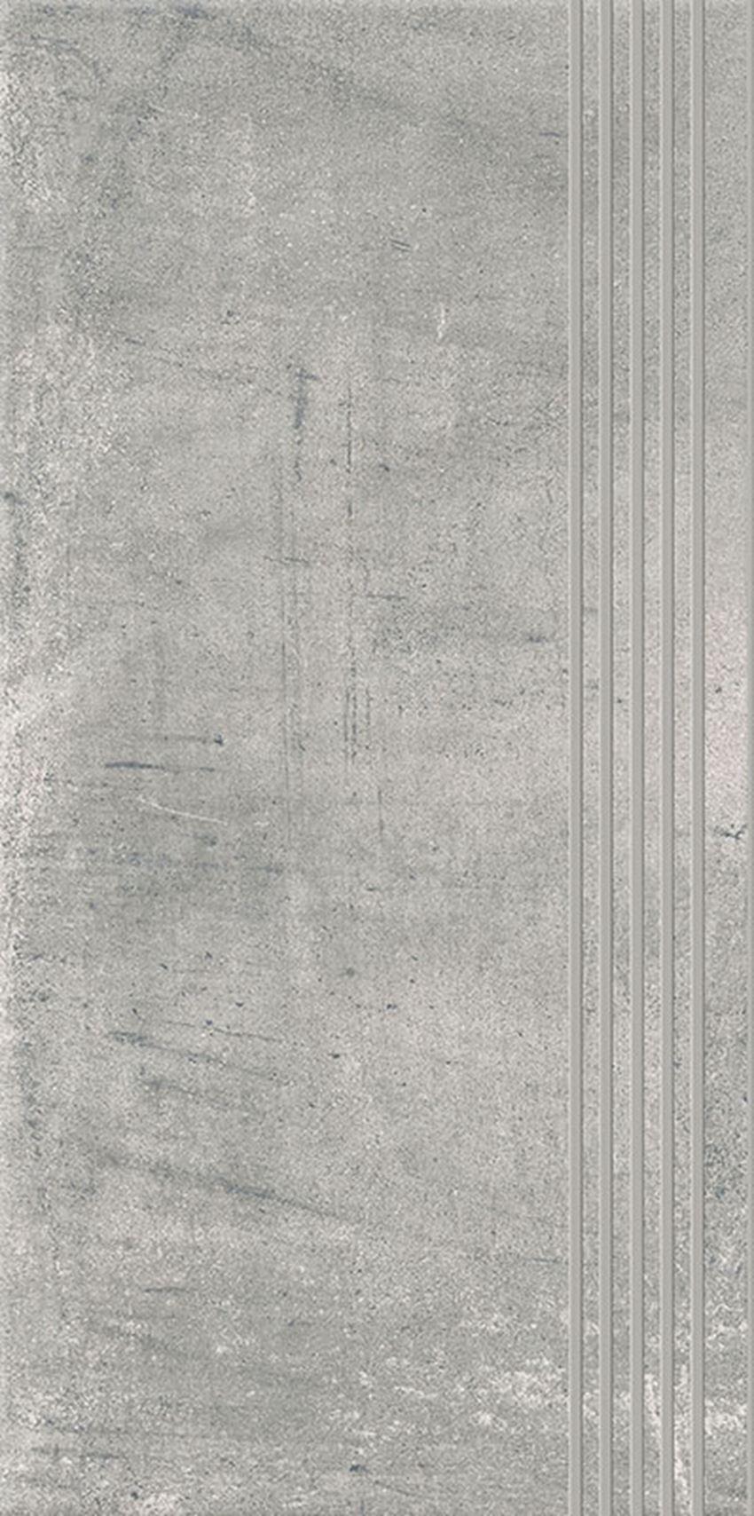 Płytka stopnicowa 29,8x59,8 cm Paradyż Hybrid Stone Grys Stopnica Prosta Nacinana