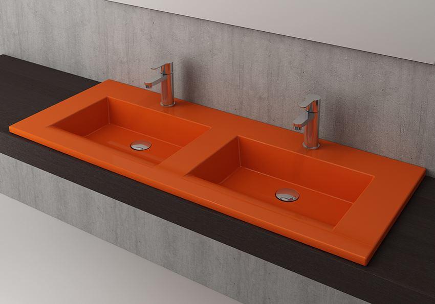 Umywalka podwójna meblowa/nablatowa 120 cm Glossy Orange Bocchi Milano