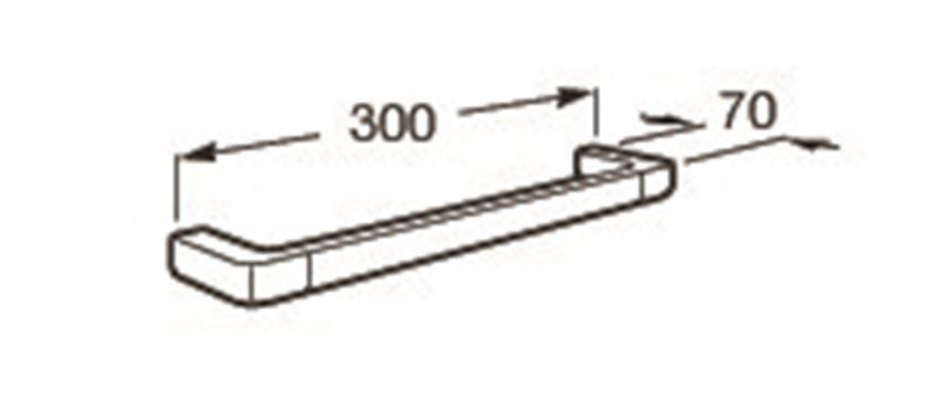 Wieszak jednoramienny ścienny 30x7 cm Roca Tempo rysunek techniczny