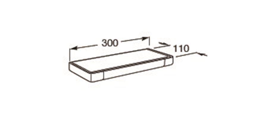Półka łazienkowa szklana 30x11 cm Roca Tempo rysunek techniczny