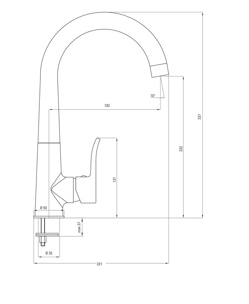 Bateria kuchenna stojąca z wylewką U Deante Werbena rysunek techniczny