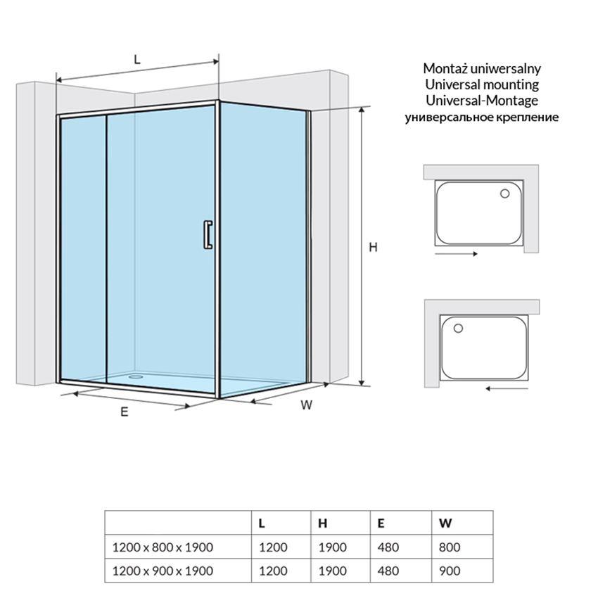 Kabina narożna z pojedynczymi drzwiami Excellent Seria 201 rysunek techniczny