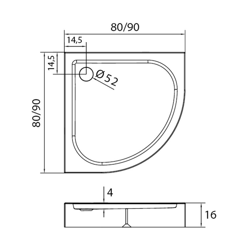 Brodzik półokrągły 80x80 cm New Trendy Domio rysunek techniczny
