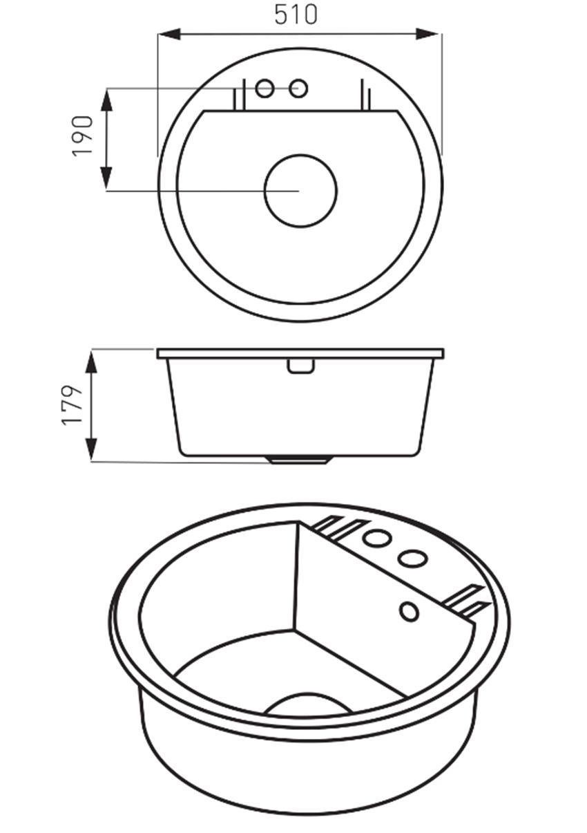 Zlewozmywak okrągły 1-komorowy FDesign Carioca rysunek