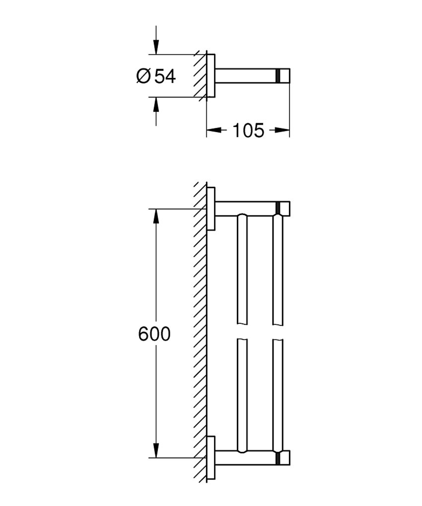 Wieszak na ręczniki Grohe Essentials rysunek techniczny