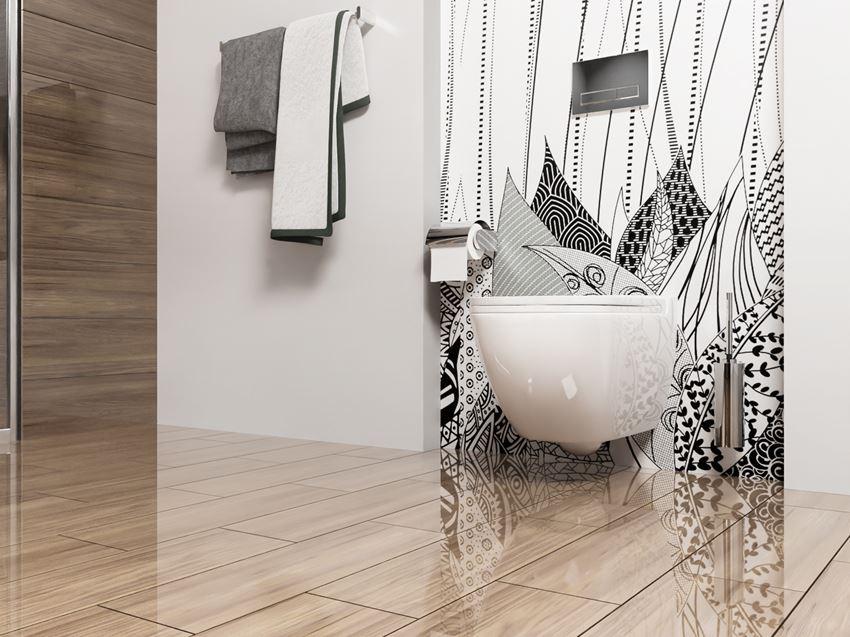 Fantazyjna fototapeta i drewnopodobne płytki w modnej łazience