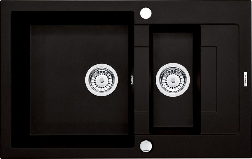 Zlewozmywak 1,5-komorowy z krótkim ociekaczem czarny Deante Rapido