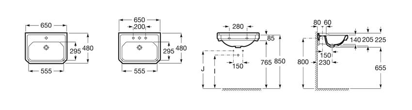 Umywalka ścienna 1 otwór pod baterię 65x48x22,5 cm Roca Carmen rysunek
