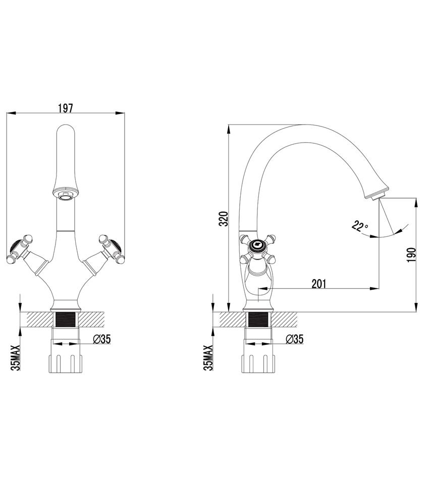 Bateria zlewozmywakowa Omnires Retro rysunek techniczny