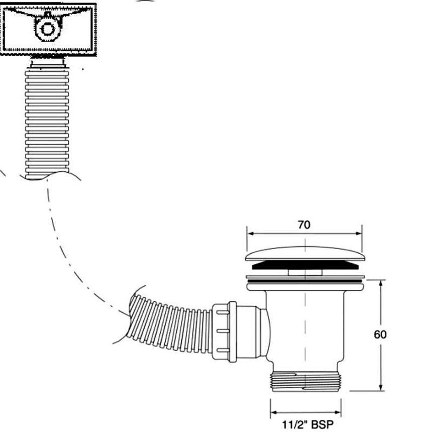Spust zlewozmywakowy McAlpine rysunek techniczny
