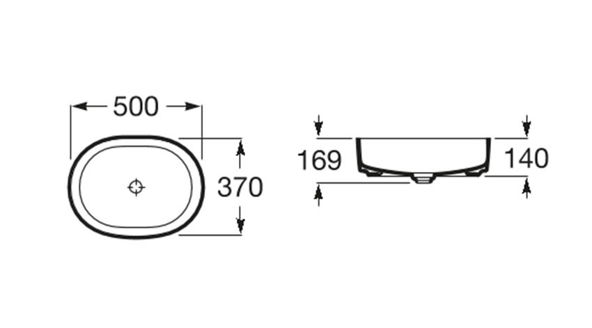 Umywalka nablatowa Round 50x37 cm Roca Inspira rysunek