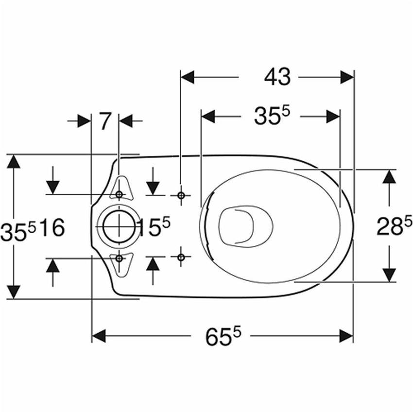 Miska kompaktowa owalna Rimfree odpływ poziomy Koło Nova Pro rysunek