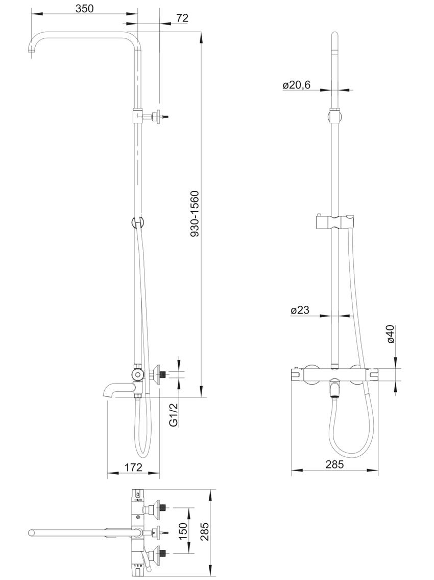 System wannowo-prysznicowy natynkowy termostatyczny Omnires Y rysunek